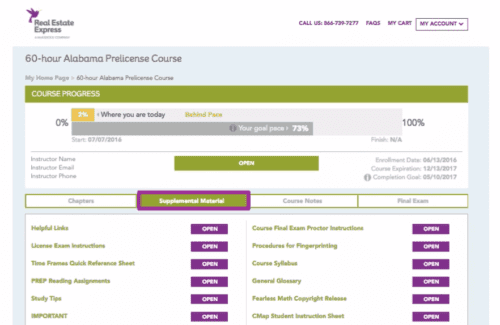 Learning management system featuring a step by step guide to a student's progress