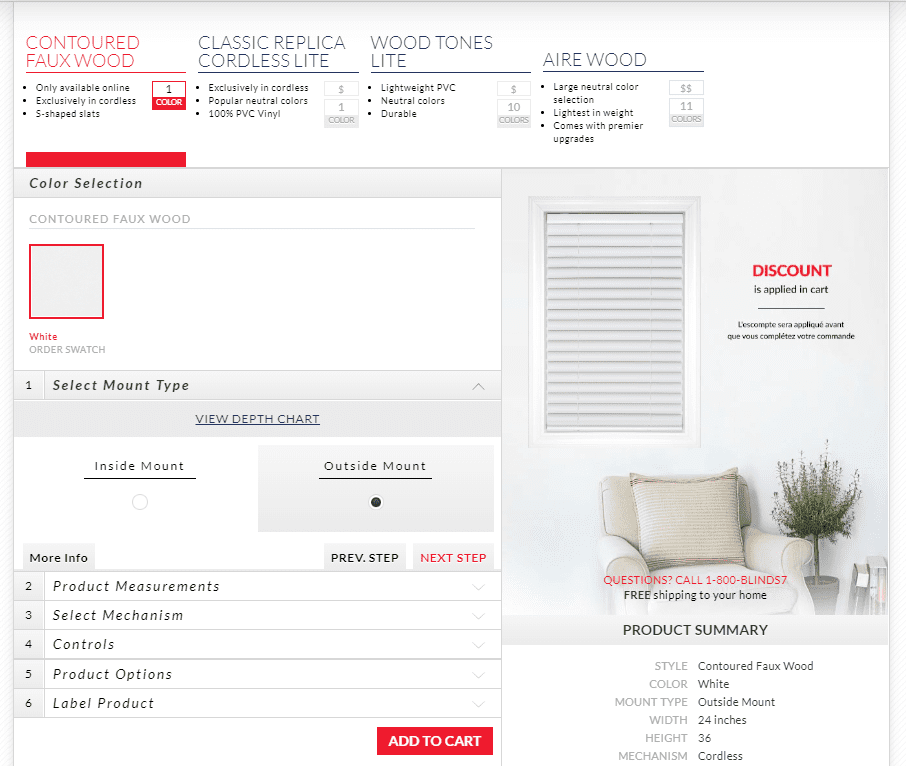 The Blinds to go ordering process featuring selections available on the company site