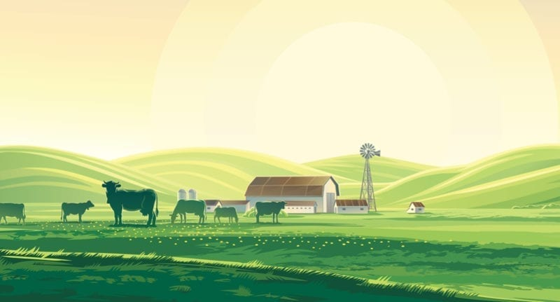 Sunrise behind a rural farm scene with a barn and cows as featured image for LandWatch review