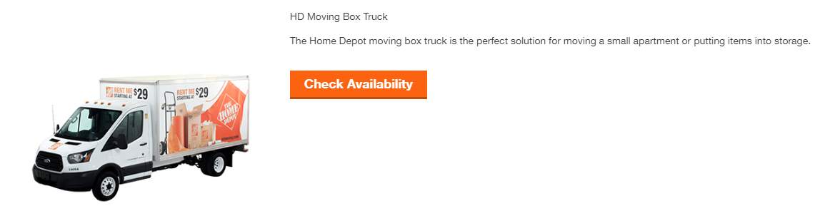 Box truck from home Depot truck rental site