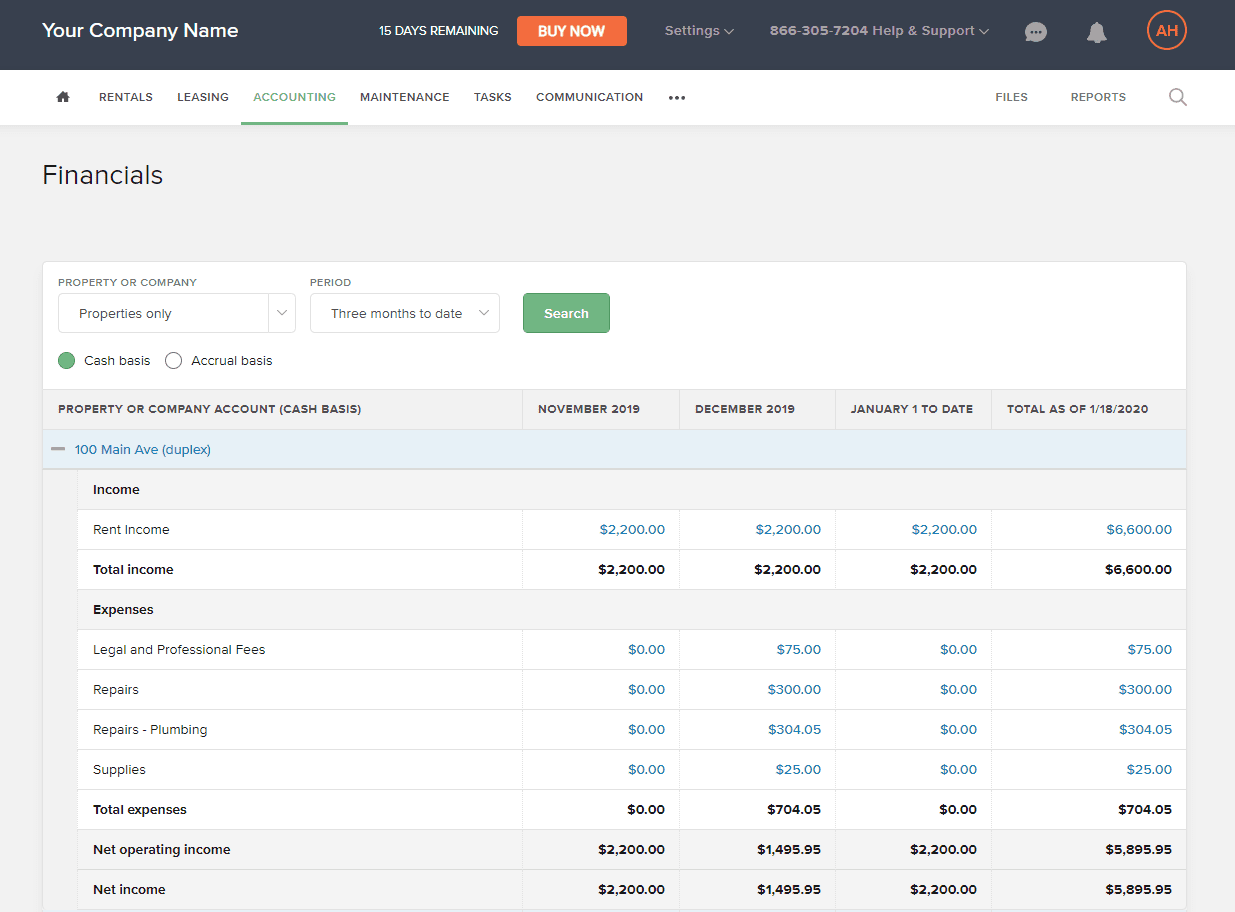 Screenshot of the Buildium accounting module and the profit and loss report