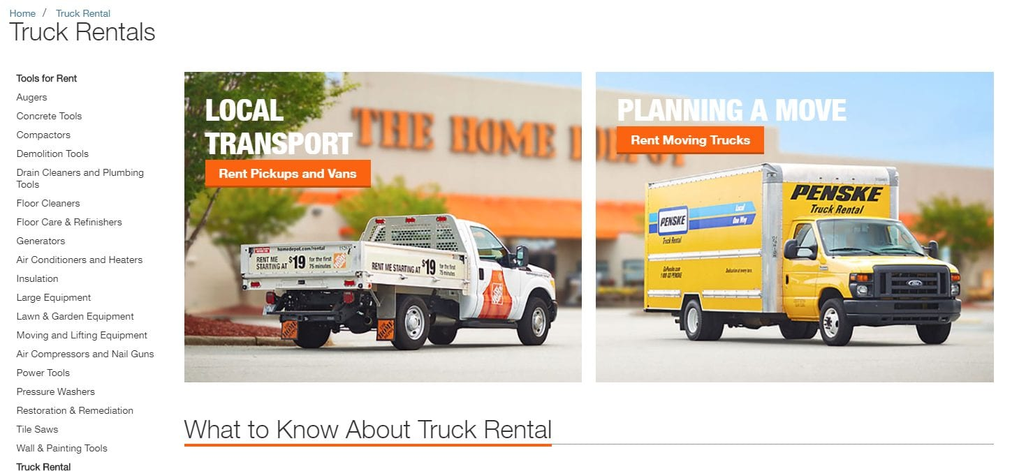 Home depot truck rental page featuring a Penske truck and a flatbed pickup