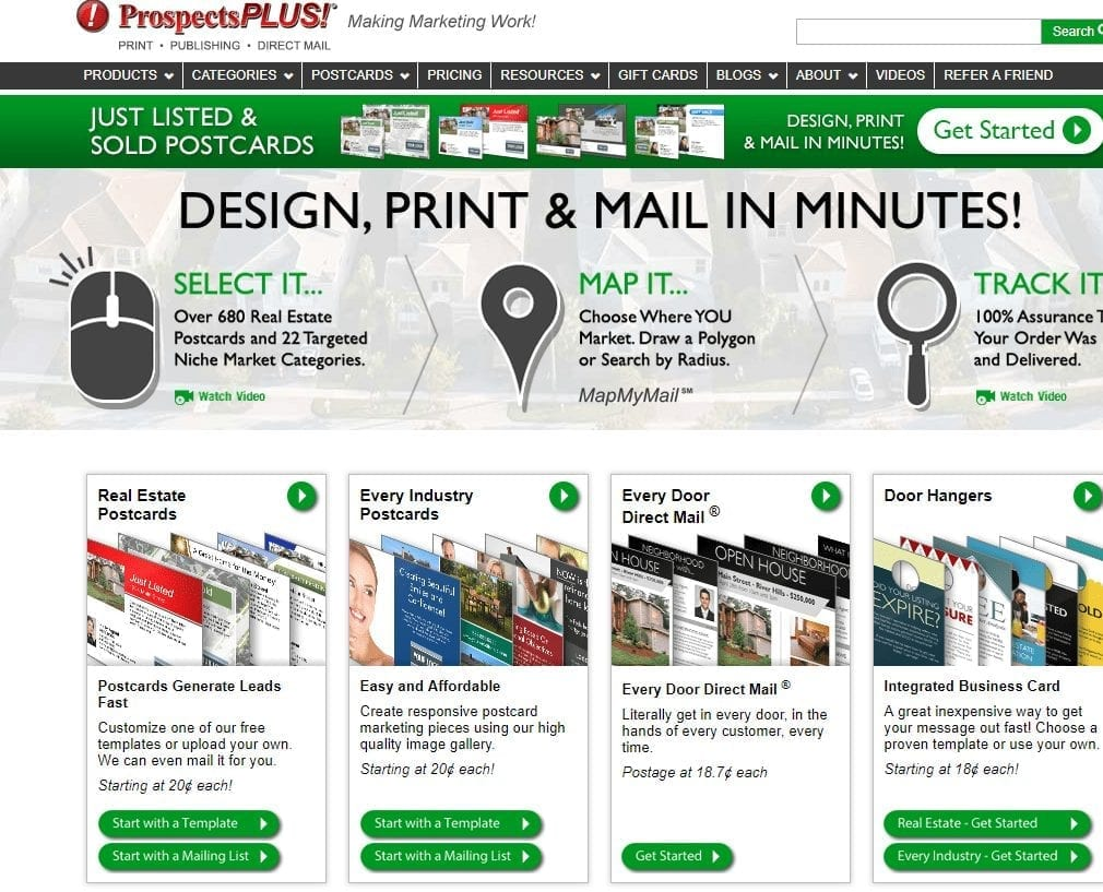 Screenshot of prospectplus website with features about how easy it is to order, and the words real estate postcards along with other industries across the bottom