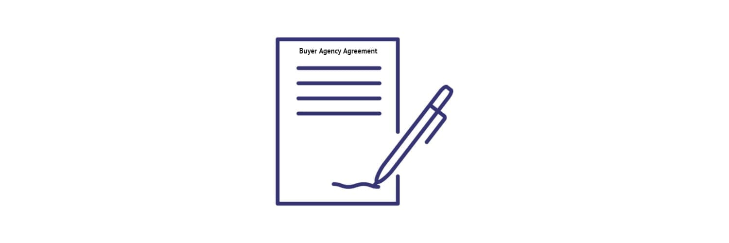 White background with a dark blue pen and paper with the words Buyer Agency Agreement