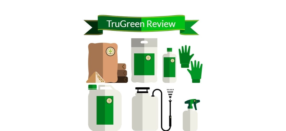 A group of vector images including gloves, a chemical sprayer, fertilizer, and the words TrueGreen review inside a green banner