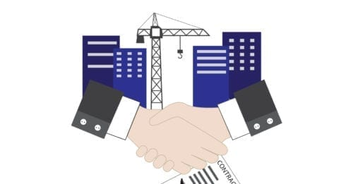 Picture of two people shaking hands and a partial contract sitting below with a couple condos in the background along with a crane