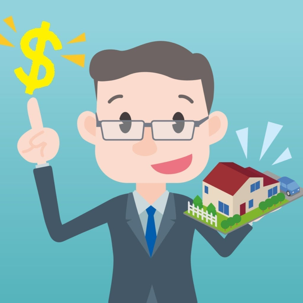 Man holding a model home in his hand with a dollar sign above his right finger