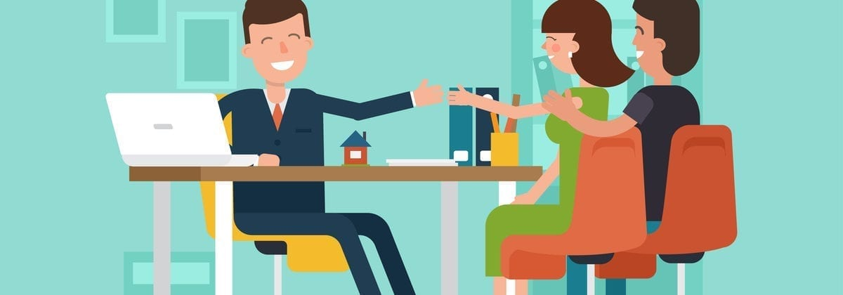 Vector image of a happy couple sitting across from a banker as the featured image for a conventional loan