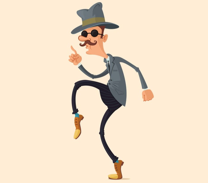 spy in fedora hat and sunglasses sneaking on tiptoe to install a bandit sign
