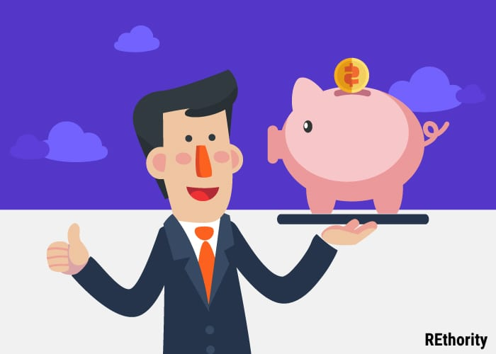 Person in a suit holding up a piggy bank with money going into it