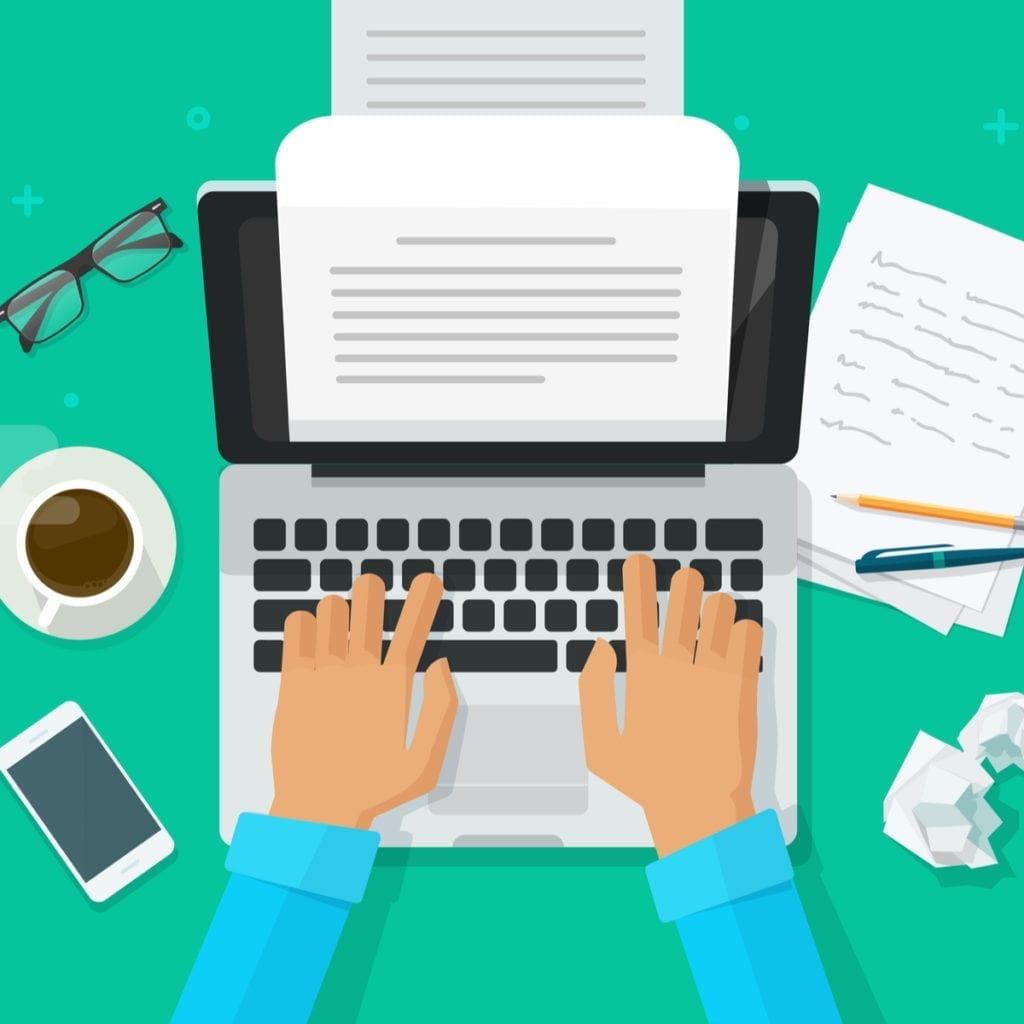 Hands typing on a computer with a coffee cup next to it along with a crumpled piece of paper and writing utensils