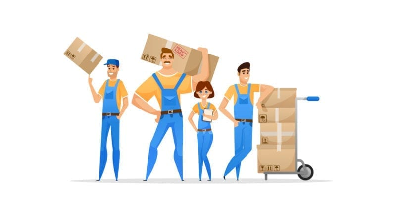 Group of movers standing with a dolly and boxes in hand against a white background