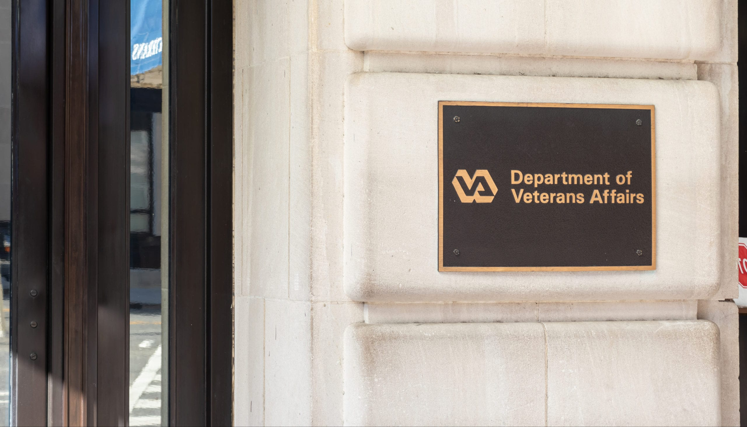 US Department of Veteran Affairs logo on the side their main office in Washington.