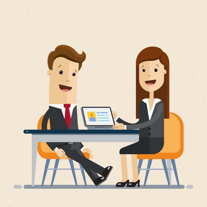Business man and woman sit at the table, work together, interviews, negotiations, meeting. Vector, illustration, flat buying errors and omissions insurance
