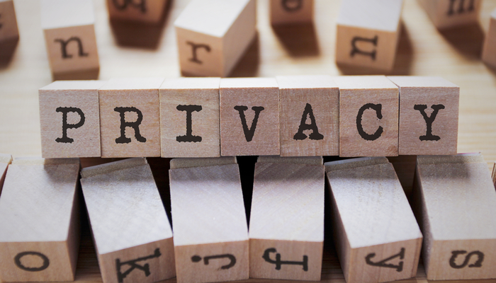 Privacy Word In Wooden Cube