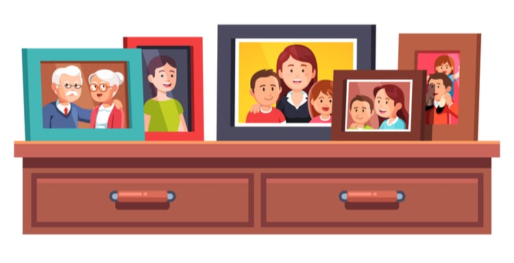 As a featured image for a piece on Costco Photo, Big family relatives portrait photos frames standing on chest of drawers table top. Family Parents and kids relationship mementos in picture frames. Flat style vector illustration isolated on white.