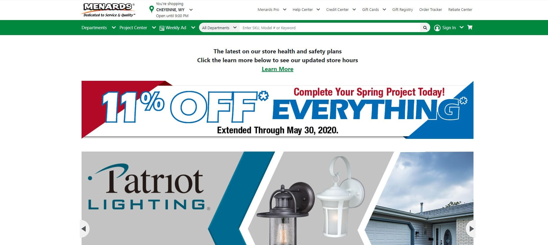 11% off everything screenshot of the Menards home page