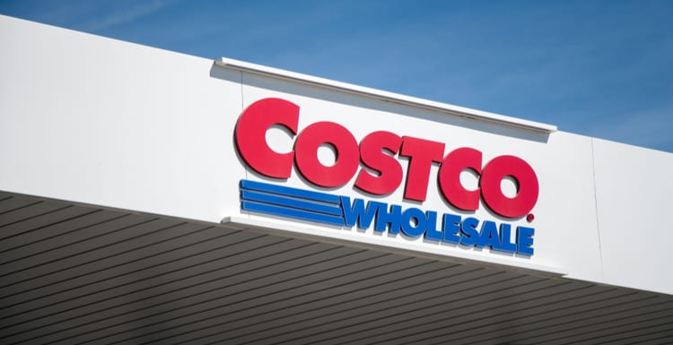 GETAFE, SPAIN - MARCH 9, 2019. Costco logo on Costco gas station. Costco Wholesale Corporation is an american retailer