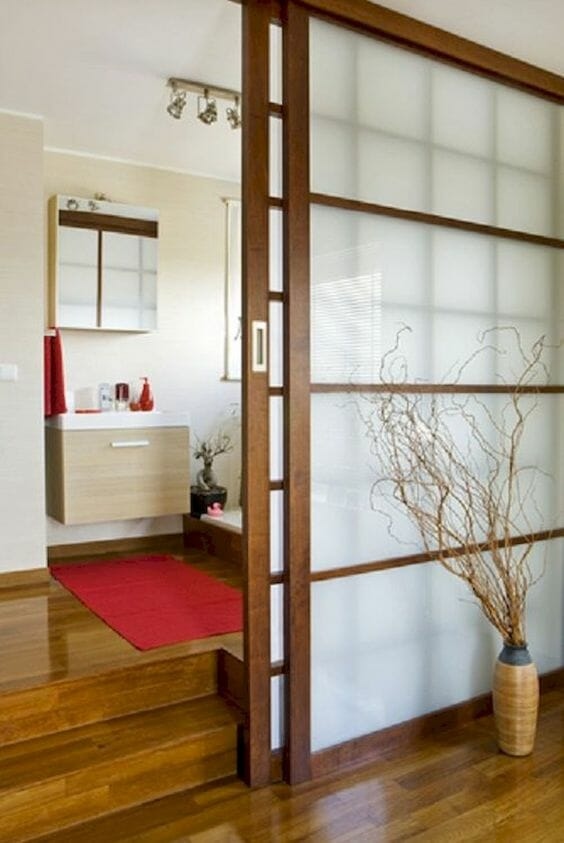 Brown and transparent room divider with a modern oriental styling