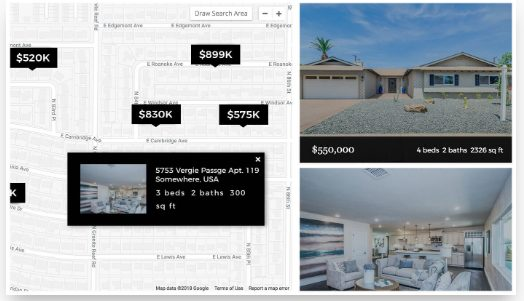 IDX search integration featuring homes in what appears to be a desert climate
