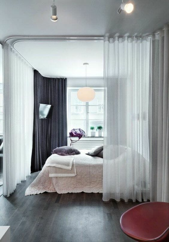 Simple transparent fabric room divider from Trendy Home Decorations