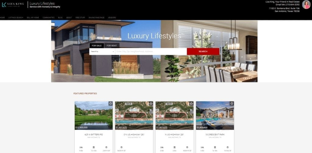 Screenshot of a Placester template in action and custom-built for Liza King Luxury Lifestyles
