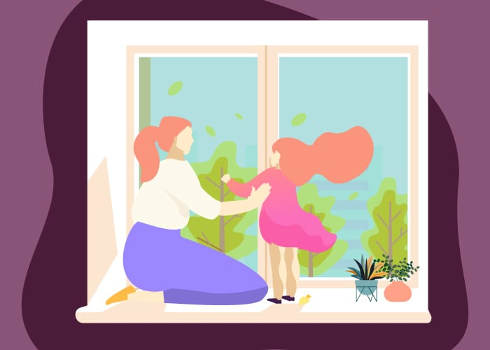Graphic of a woman sitting in a window with a child and looking out the front for a piece on standard window sizes