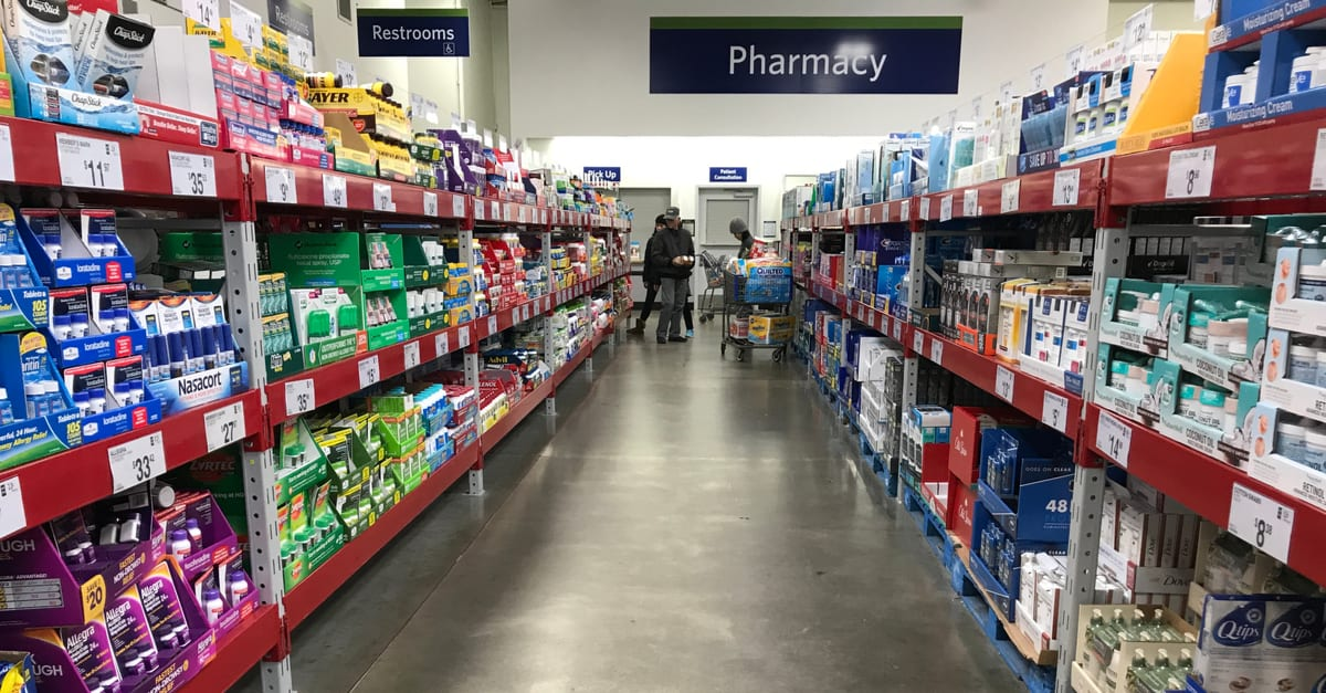 Mankato, MN/USA - April 15, 2018. The pharmacy and pills aisle at Sam's Club in Minnesota.