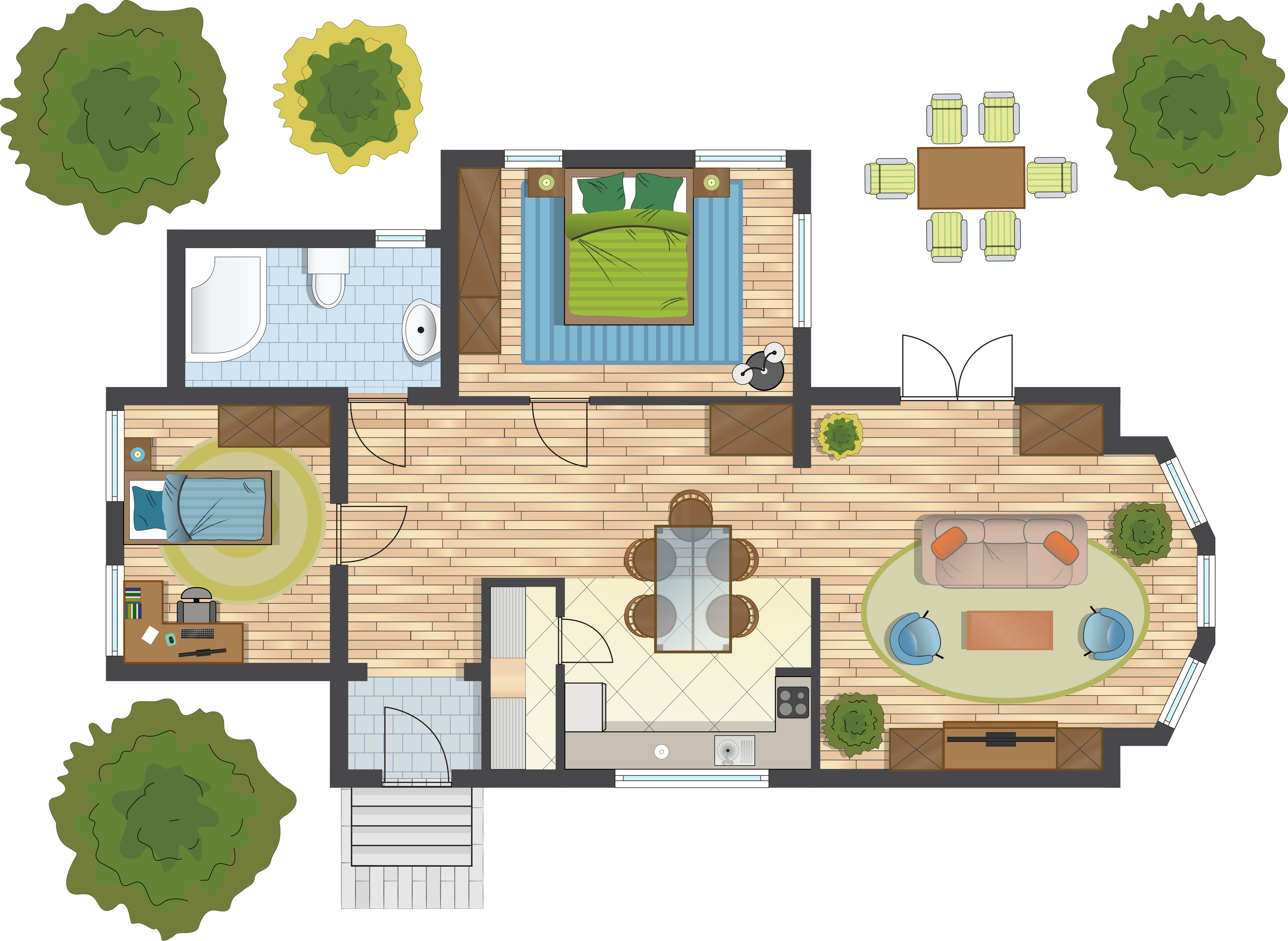 Colorful floor plan of a house.