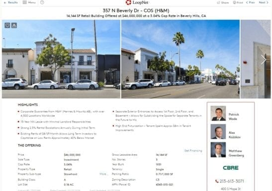 Screenshot of an H&M listing in Beverly Hills