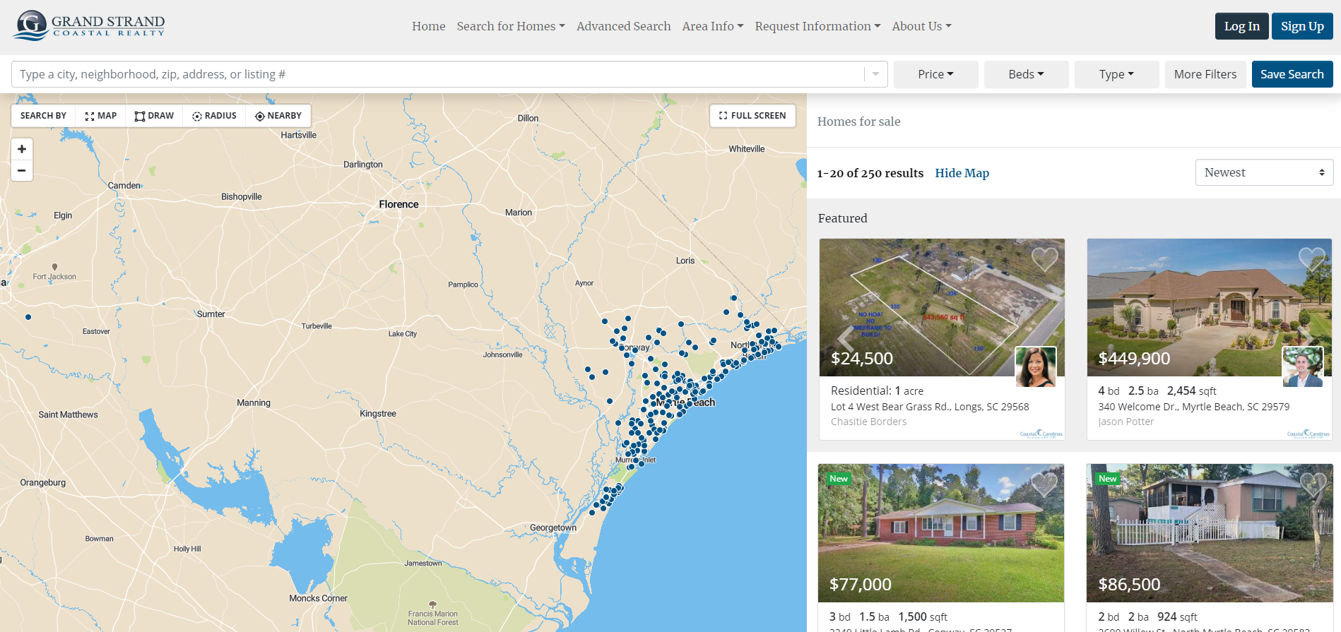 Screenshot of the grand strand costal realty website with an ihouseweb idx integration