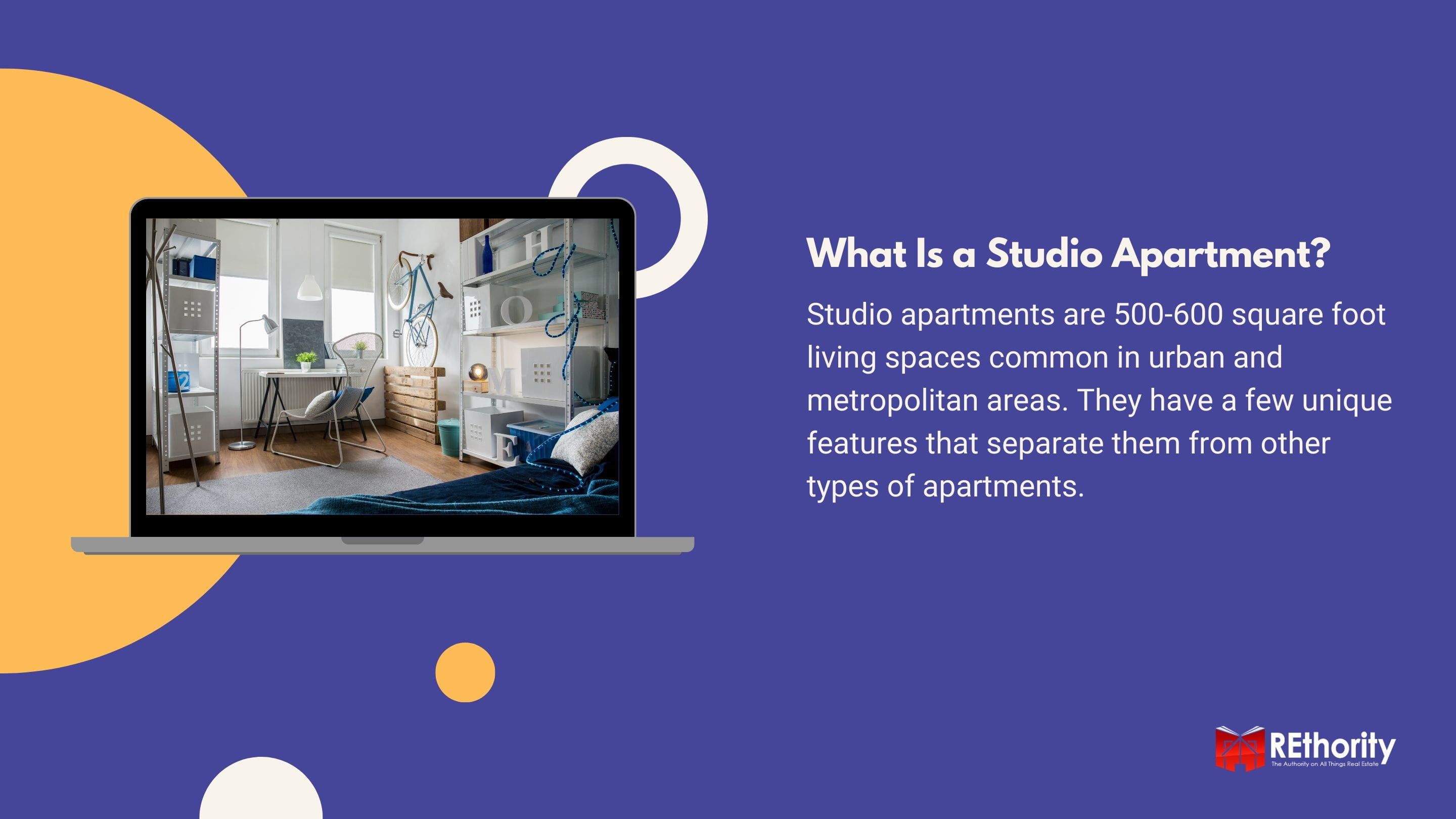 What Is a Studio Apartment graphic against blue background and an image of a studio apartment displayed on a silver laptop