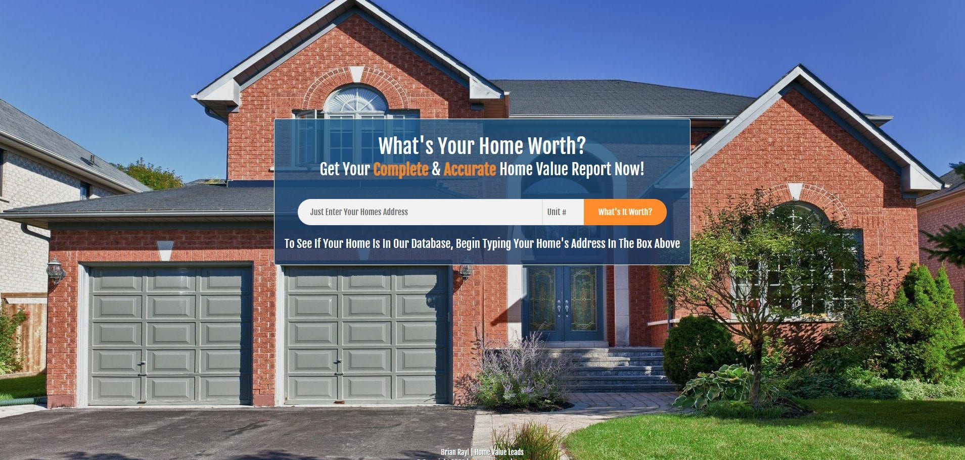Screenshot of a Home Value Leads real estate landing page