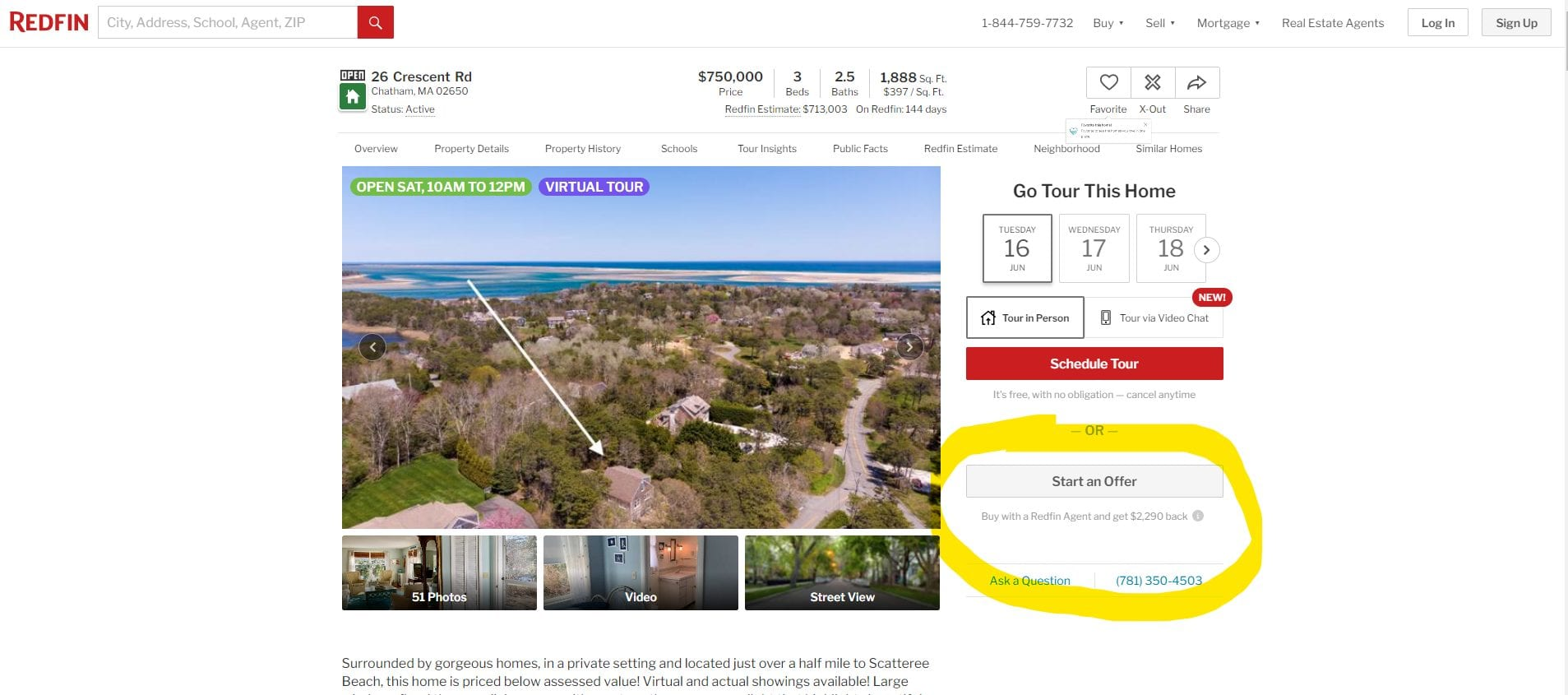 Redfin partner program featuring a screenshot of a Chatham, MA property for sale