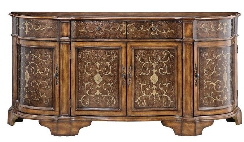 Bailey Street Home - 736-BEL-2725050 - 71.75-inch Cabinet - Traditional Scrolls Design On Wood Tone Cabinet In Wood Tone Finish - Sideboard / Credenza With Cabinets And Drawers