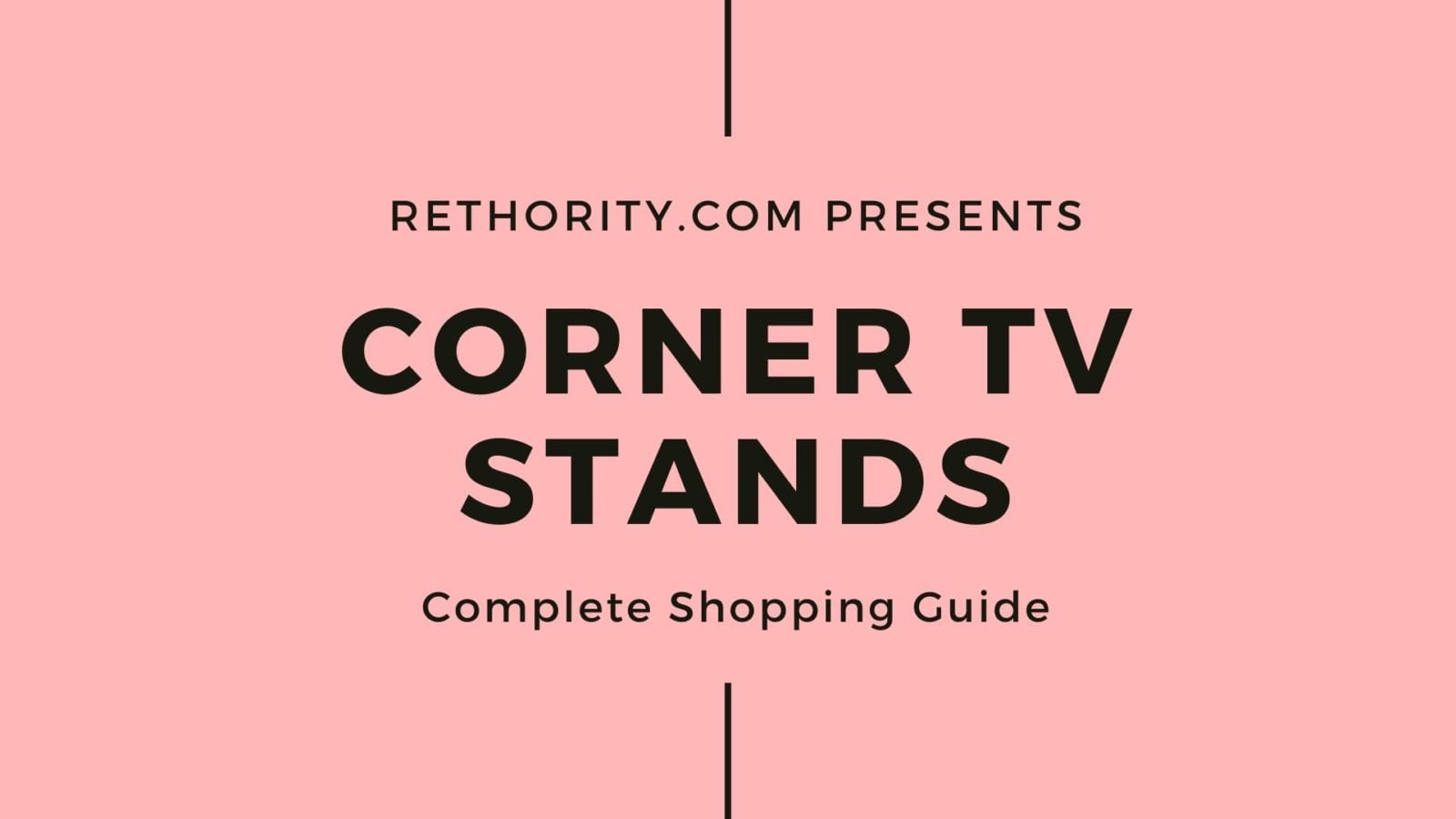 Corner TV Stand shopping guide graphic against salmon red background