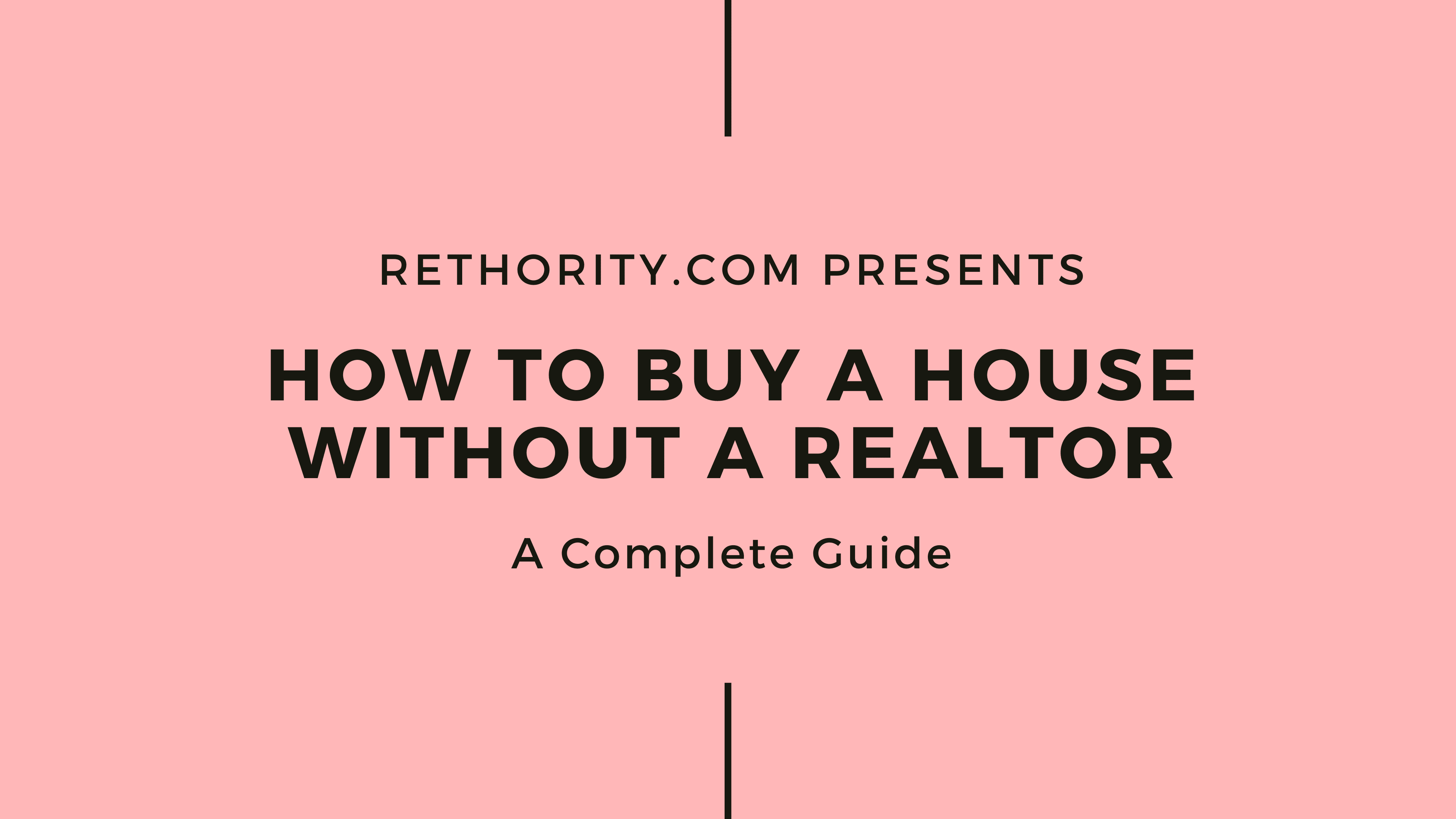 How to buy a house without a realtor graphic against salmon background