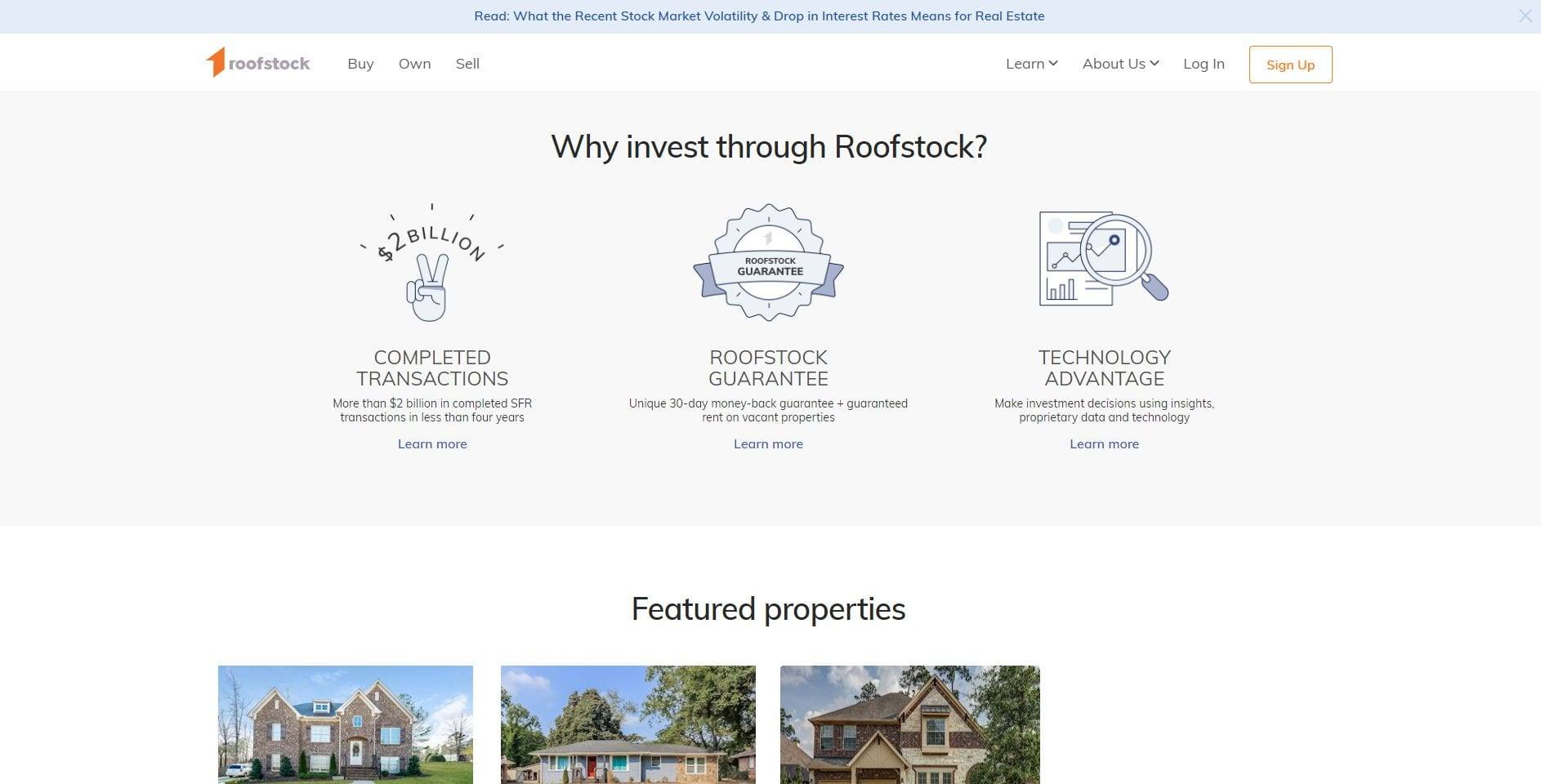 Roofstock entry page showing featured listings and an overview of why you should buy a single family home from them