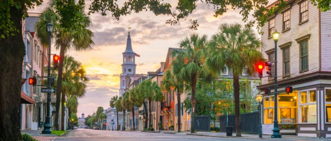 Historical downtown area of Charleston, South Carolina, USA at twilight as the featured image for a piece on how to get a real estate license in North Carolina