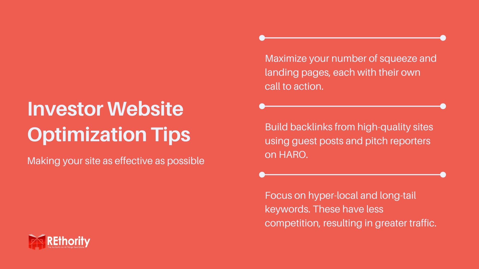 Real Estate Investor Website Optimization Tips