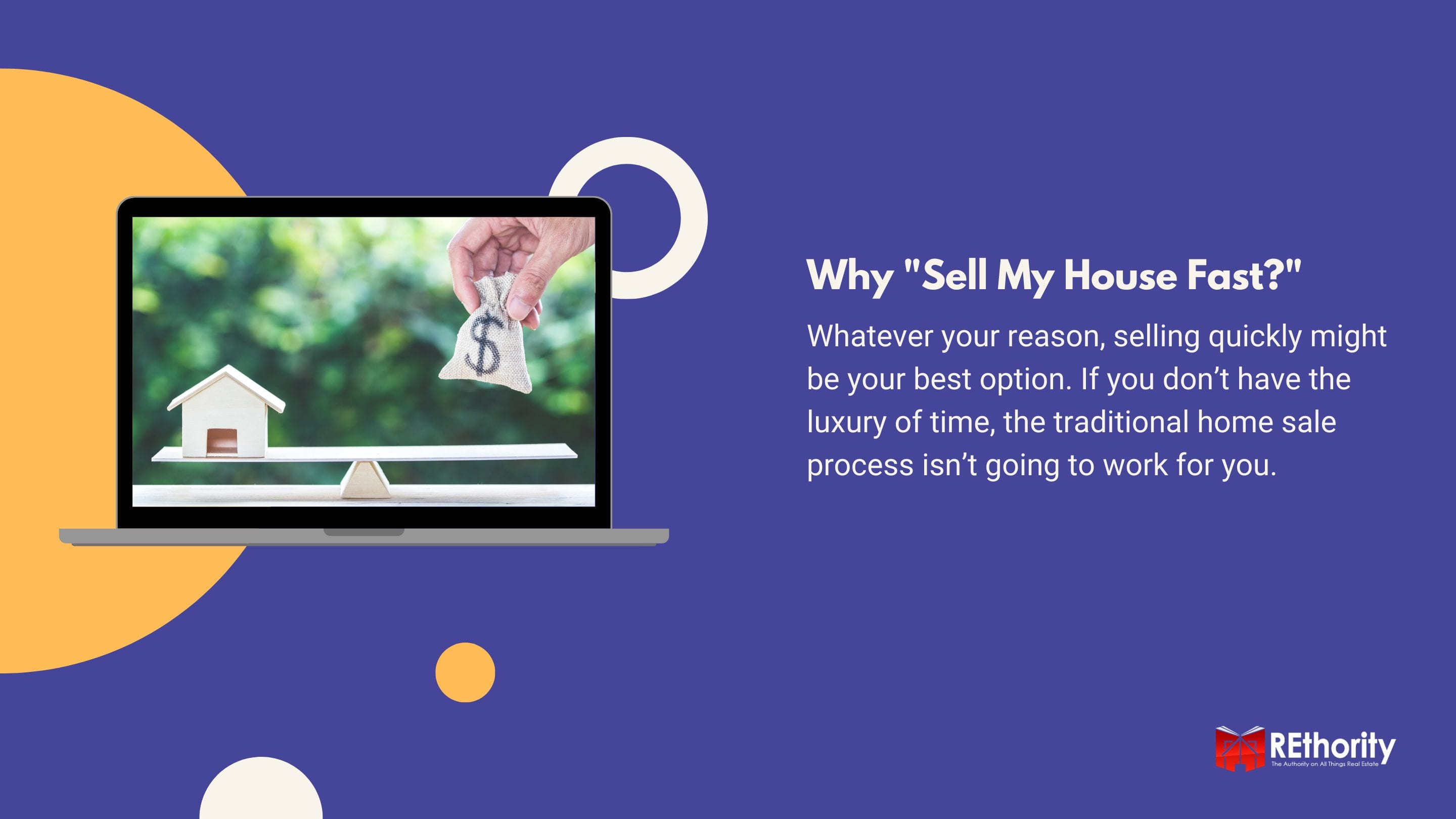 Why _Sell My House Fast__ against blue background with explanation of what the topic is