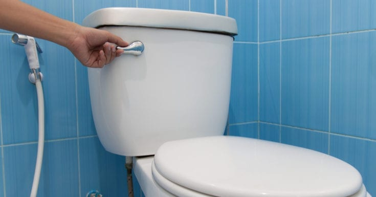 As an image for slow flushing toilet, toilet with a flush. Press and flush.