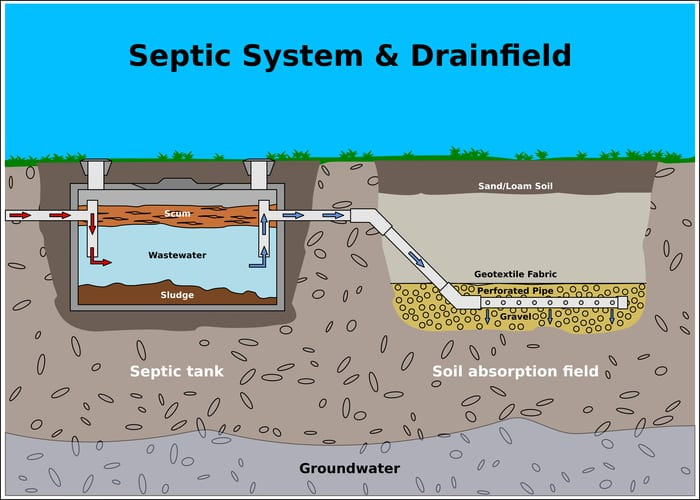 Septic System and Drainfield color vector diagram as a featured image for a piece on septic tank pumping near me