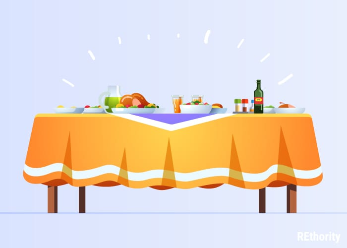 Graphic shows a bunch of food and drink sitting on a table against pink background