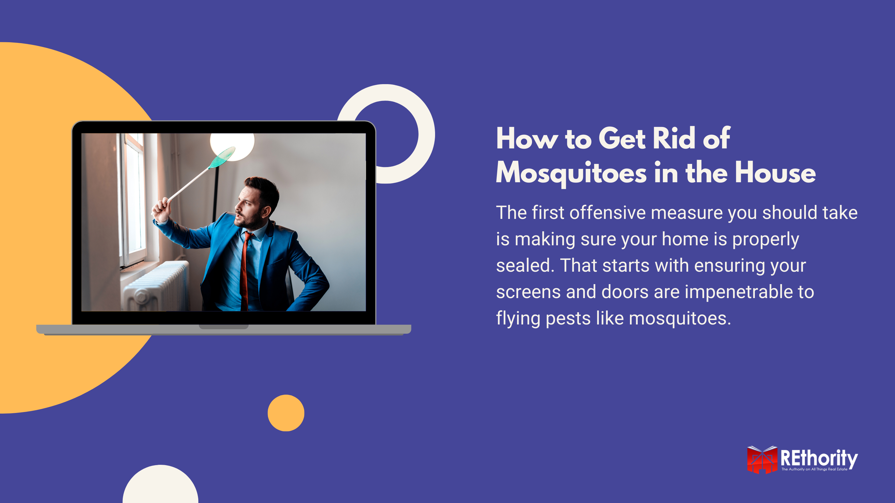 How to Get Rid of Mosquitoes in the House graphic featuring a photo of a guy in a suit holding a flyswatter on a computer screen