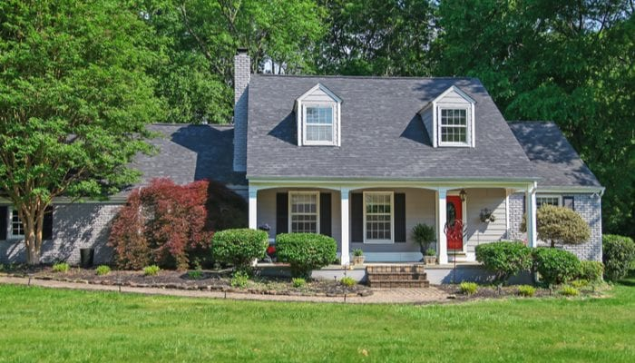 Panoramic view of beautiful house and garden on spring in Nashville ,Tennessee USA