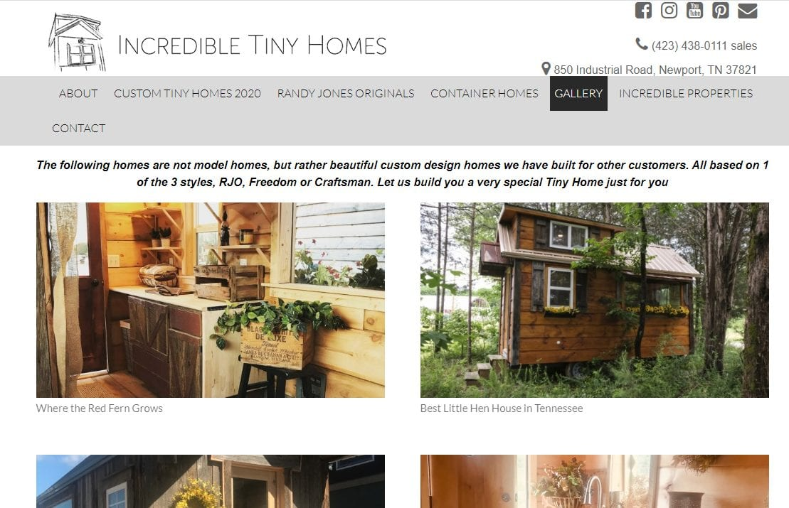 Incredible tiny homes models with a website header at top