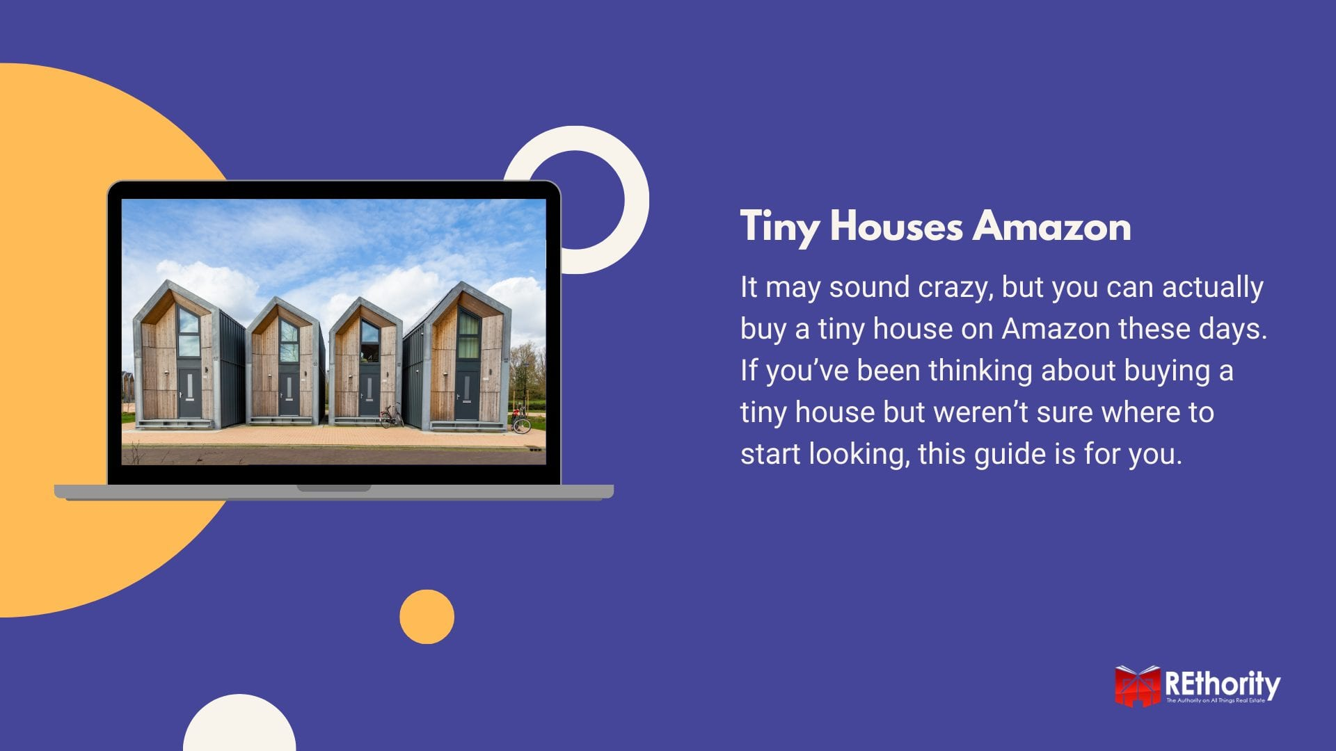 Tiny houses available on Amazon featuring a bunch of modular homes displayed on a laptop