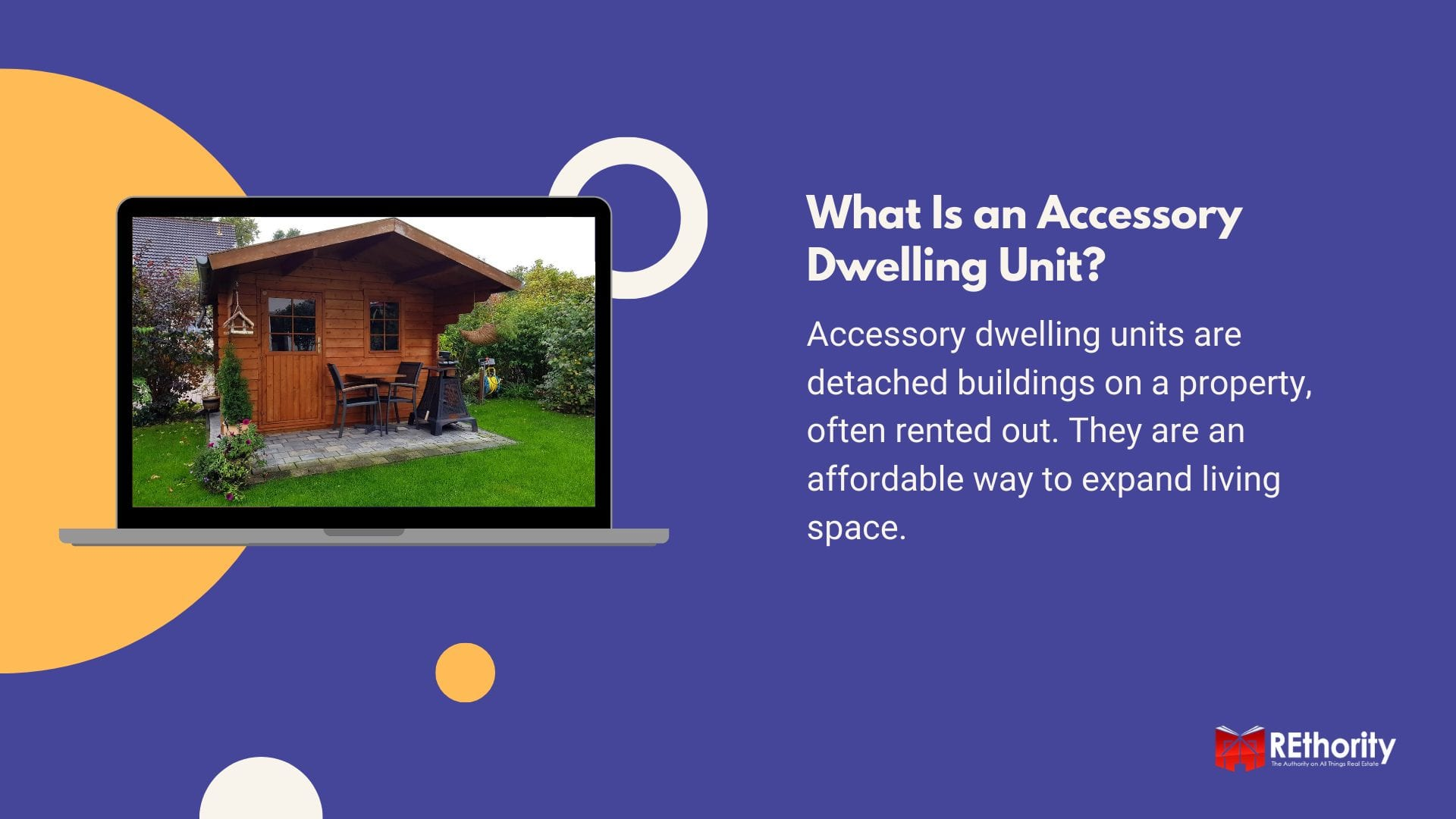 What is an accessory dwelling unit graphic featuring one displayed on a laptop screen and a definition of the term