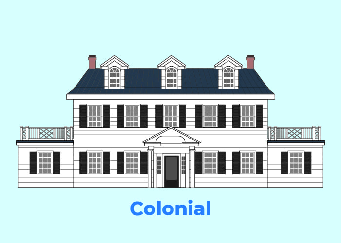Illustration of the colonial type of home against blue vector background